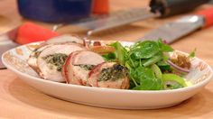 Bacon-Wrapped, Walnut and Spinach-Stuffed Chicken with Apple, Celery and Onion Salad #whatsfordinner