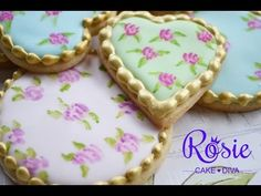 "▶ ""Cath Kidston"" Style Roses - Edible Painting On Cakes & Cookies Tutorial - YouTube"