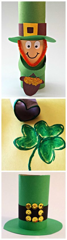 St. Patricks Day Toilet Paper Roll Crafts for Kids (Leprechaun, shamrock, hat) #DIY #St pattys art projects   | http://www.sassydealz.com/2014/02/easy-st-patricks-day-crafts-kids.html
