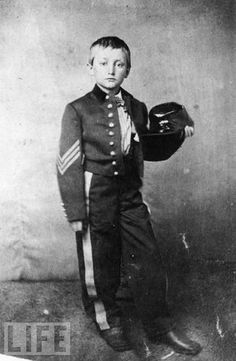 Johnny Clem - one of my heroes <3   He enlisted at the age of 10, served in the 22nd Regiment Michigan Infantry as a drummer boy. In 1863, he was promoted to Sergeant after shooting a Confederate officer at Chickamauga. He  is the still considered to be the youngest non-commissioned officer in United States history.     I personally think J. Clem is awesome. :)