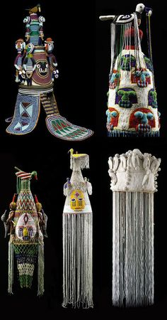 West Africa | Beaded crowns from the Yoruba people of Nigeria