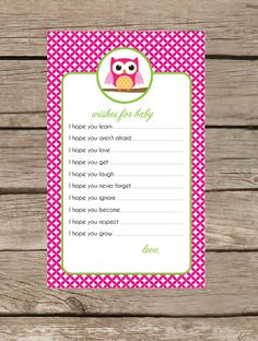 Owl Collection Baby Shower Game