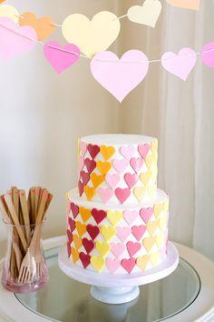Heart first birthday cake
