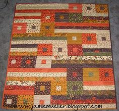 i like the interesting modern #piecework in this #fall #quilt baby quilts, autumn, color, quilt patterns, fall quilts, jelly rolls, moda jelly roll quilt, quilt tutorials, lap quilts