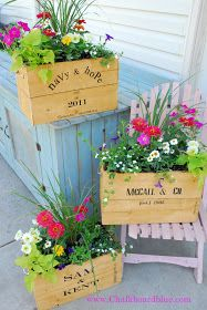 Chalkboard Blue: Old Crate Planter Boxes