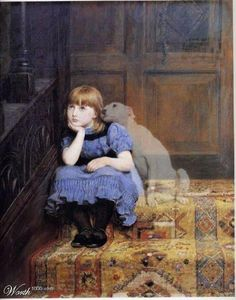 "A friend found out that the artist is Briton Riviere. Name of painting is Sympathy. Original painting does not have dog as a ""spirit"". Someone has altered, but still a great painting. This brings special meaning to all dogs that have crossed to the Rainbow Bridge. Most importantly for me, it shows all the pets lost due to BSL. So many families are hurting, but know that your bully is still with you."