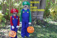 How to Make Mario and Luigi Costumes {Tutorial} sew, kid halloween costumes, tutorials, costum tutori, carrots, kids, mario brothers, luigi costum, peas