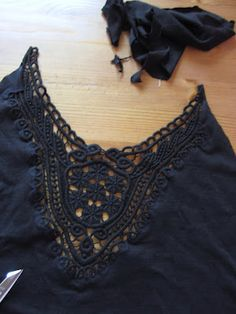 Dixie DIY tutorial: how to sew with lace/crochet appliques - from: http://dixiediy.blogspot.co.uk/2012/04/little-black-dress-and-crochet-applique.html