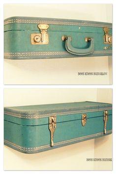 decor, bungalows, bees, vintage suitcases, diy vintage suitcase shelfs