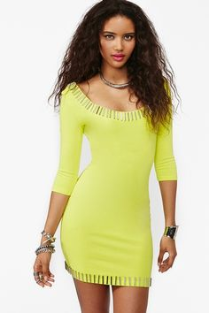 Gold Rush Dress - Neon Yellow