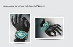 Turquoise and Garnet Embroidered Cuff