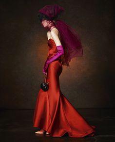 red, satin, alexa yudina, dresses, magazines, fashion photographi, zac posen, damian fox, spend