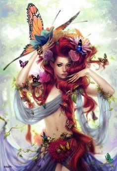 red hair, butterflies, digital art, fantasi art, fairi, illustration art, goddess, cross stitches, mother nature