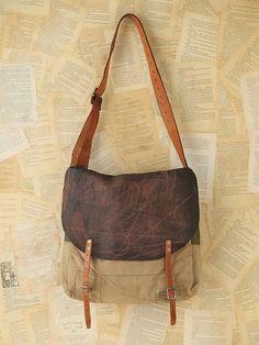 Free People Vintage Distressed Messenger Bag