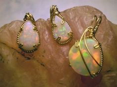 Opal earrings and pendant wire wrapped by Ronda Sherwood