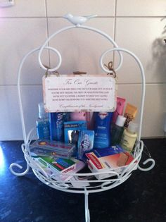 Guests goody basket with poem we had in the bathroom! Great idea and most of it was used!