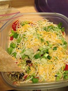 healthy 7 layer bean dip and gluten free rice tortilla chips