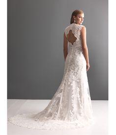 2013 Allure Bridal - White Lace Applique Keyhole Wedding Dress - Unique Vintage - Prom dresses, retro dresses, retro swimsuits.
