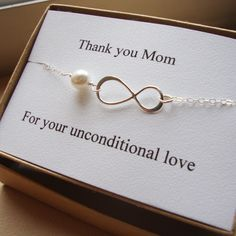 Thank You Mom Infinity Bracelet - Mother of Bride or Groom, Eternity Bracelet, Wedding Special Gift, Jewelry Card Set. $30.00, via Etsy. Always do something special for both of your parents on that special day. It is the first time that they really, TRULY see their baby as an adult. It will mean the world to them.