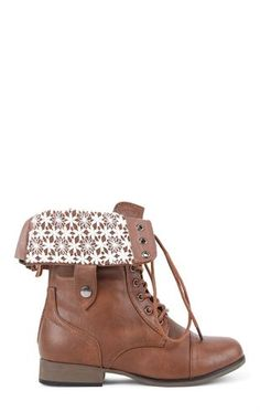 Deb Shops Lace Up Combat Boot with Fold Over Crochet Cuff $34.50