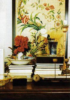 Beautiful vignette from the Paris home of the late Loulou de la Falaise.