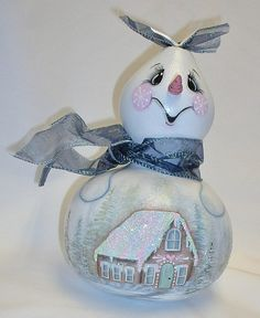 Not Just Another Snowman Gourd  Snowgirl Gourd  by FromGramsHouse