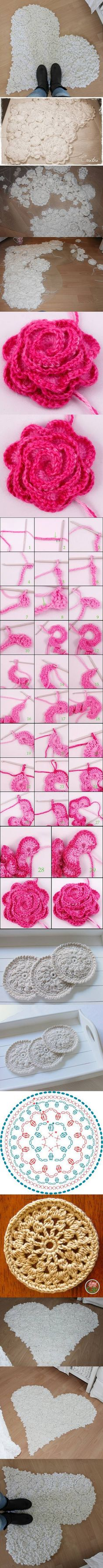 diy chic, craft, chic rug, crocheted flowers, heart shapes, crochet rugs, pink rose, diy projects, diy rugs