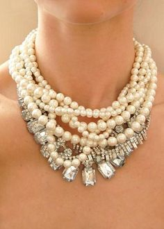 never be afraid to mix it up...pearl and crystals.....or with chain...have fun with your bling