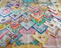 I wish I had seen this earlier this year! You can buy vintage handkerchiefs in bulk (100 handkerchiefs for around 60 bucks!) You can use them as napkins, make a bunting, fabric flowers, or even your invitations!