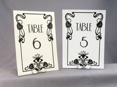 Wedding Table Number Cards - Vintage Glam 1920's Lotus Flower Art Deco Old Hollywood