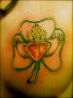 Claddaugh | Shamrock | Irish Celtic Tattoo | Symbolizes Luck, Love  Friendship Tattoo Ideas, Beautiful Meaningful Tattoos, Clovers, Clover Tattoo, Tattoo Tattoosiw, Celtic Tattoos, Tattoo Inspir, Leaves, Irish Tattoo