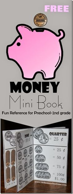 `FREE Money Mini Book - a free printble to help kids in Preschool, Kindergarten, 1st grade, and 2nd grade learn about money