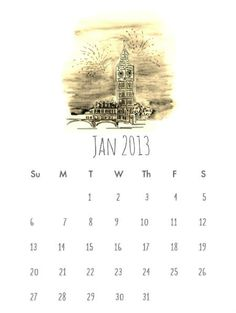 ..Twigg studios: printable calender for Jan 2013