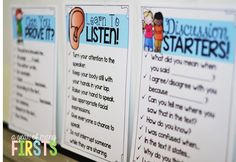 great posters on how to start discussions and how to be a good listener for primary students