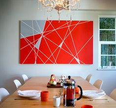 diy art, abstract art, diy tutorial, decorating ideas, dining room art