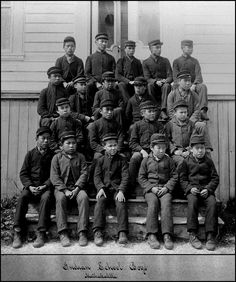 Aboriginal students attending the Metlakatla Indian Residential School.