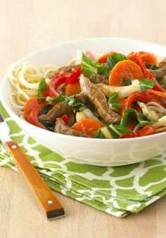 Quick Veggie & Beef Noodle Bowl — Veggies aren't boring in this colorful Asian-style meal. Using bok choy, carrots and red peppers makes it easy to get your family to eat more vegetables.