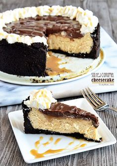 Delicious Salted Caramel Cheesecake with Chocolate Ganache at TidyMom.net