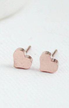 Rose Gold Heart Earrings Heart Earrings Rose Gold