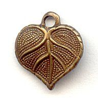 59122  Vintage Tiny Catalpa Heart Leaf Charm  This tiny catalpa leaf charm has a full heart shape and life-like detailing.  It is USA crafted from lead free brass and finished with an exquisite chocolate patina color.  Add this little charm to any design for a touch of nature.