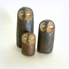 Modern Minimalist Stoneware Rusty  Owl Trio by StudioByTheForest, $45.00