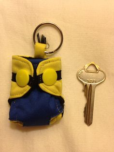 Dispicable Me Minion Cloth diaper keychain  by ettemelliug on Etsy, $12.00