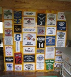 """Quilting In The BunkHouse: T-Shirt-Quilt in Progress.  Ann explains how she used the decal on a shoulder to patch a hole on the front design, look at the """"shirt"""" shaped block!  GOOD read if you are putting a creative t-shirt quilt together!"""
