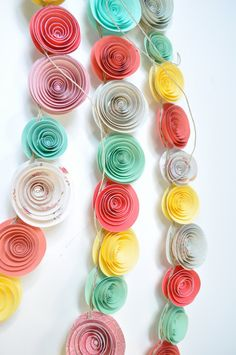 Garland Coral Teal Yellow Paper Flower Garland by lillesyster
