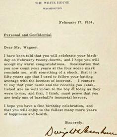 Letter to Honus Wagner, written 60 years ago today from President Eisenhower.