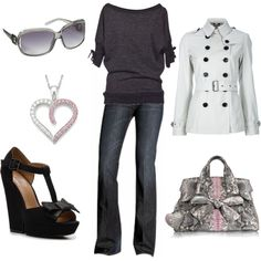 Gray and Pink Casual, created by #styleofe on #polyvore. #fashion #style #Souffle Burberry Brit