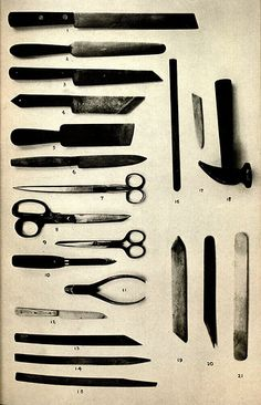 Tools used in book repair and restoration