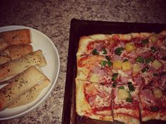 pizza and bread stick crust