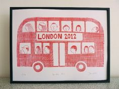 London bus print by Jane Foster