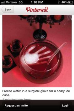 Frozen surgical glove as ice for a punch bowl- ghostly ice cube - fab party idea! But will it taste like latex? That will be the kicker!  It's about more than golfing,  boating,  and beaches;  it's about a lifestyle! www.PamelaKemper.com KW homes for sale in Anna Maria island Long Boat Key Siesta Key Bradenton Lakewood Ranch Parrish Sarasota Manatee frozen ice bowl, punch bowls, halloween parties, beach ideas for party, ice cubes, ghost ice, ice party ideas, frozen surgic, surgic glove